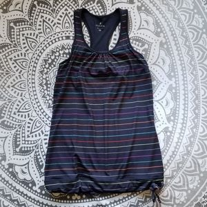 ATHLETA WORKOUT TANK XS CUTE STRIPES BRA BUILT IN